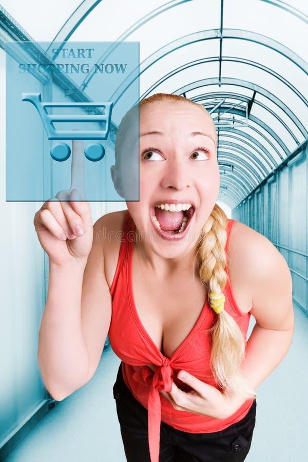 Start shopping now!. Happy smiling girl ready to start e-shopping