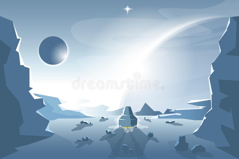 Start a Shuttle from an unknown planet royalty free illustration