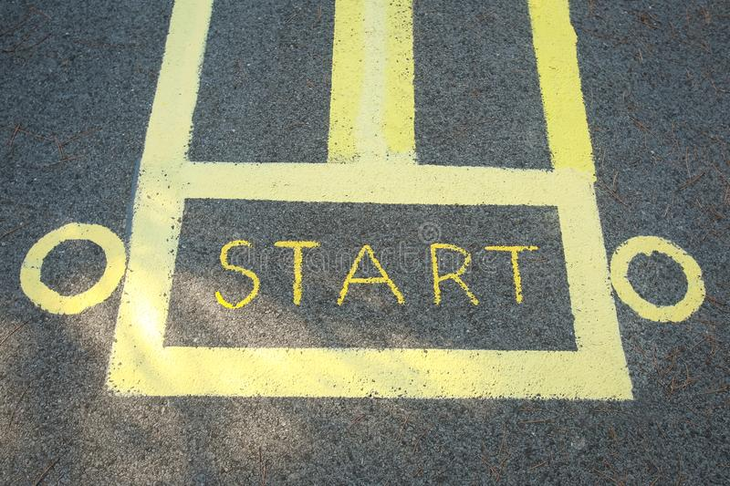 Start sign painted on road royalty free stock photos