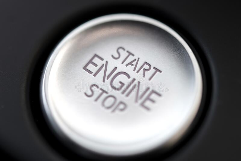 Start Stop Button in a modern car royalty free stock photos
