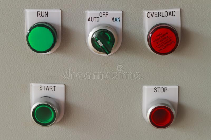 Start and stop buttons on control panel. royalty free stock photography