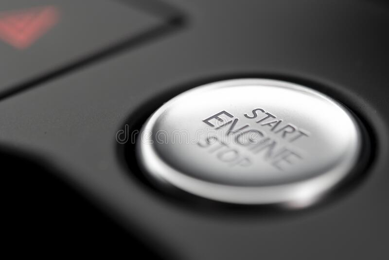 Start Stop Button in a modern car royalty free stock image