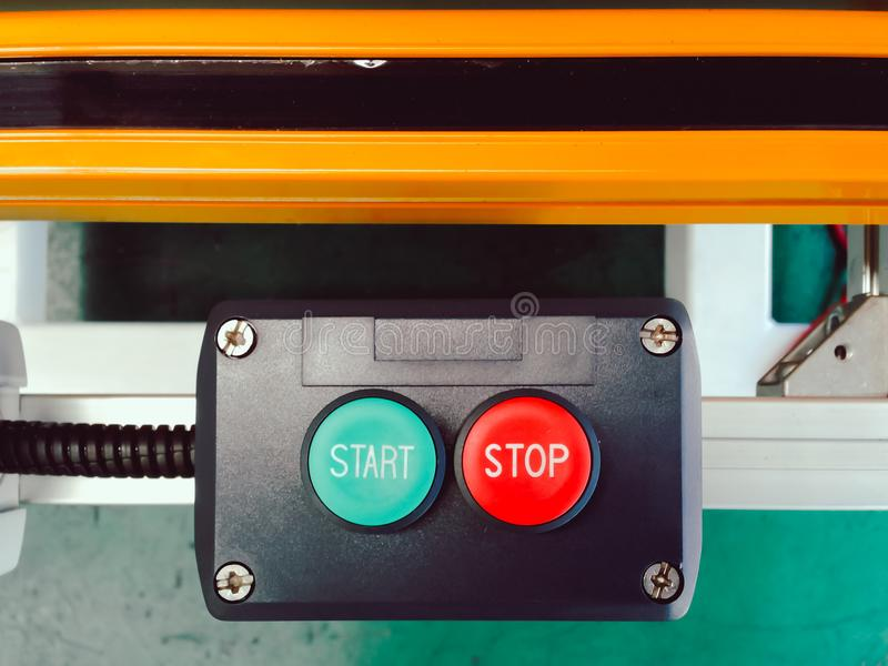 Start and stop of switch button set design in block control with. Sensor panel for automation system machine use in manufacturing royalty free stock image