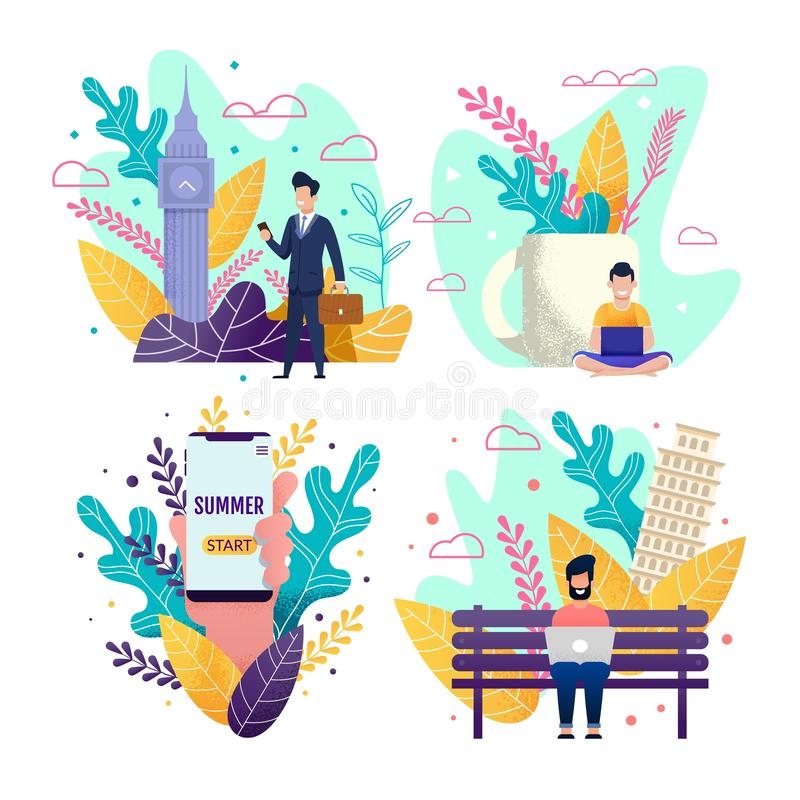 Start Summer Vacation and Choose Freelance Set vector illustration