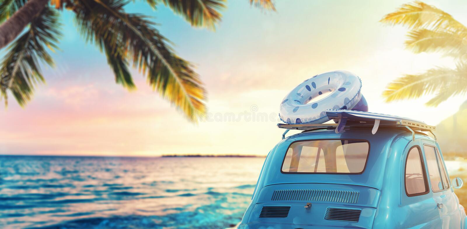 Start summertime vacation with an old car on the beach. 3D Rendering. Old car on a tropical beach at the sunset. 3D Rendering stock illustration