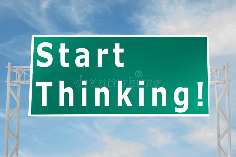 Start Thinking! concept. 3D illustration of Start Thinking! script on road sign, analysis, business, businessman, career, casual, company, corporate, courage vector illustration