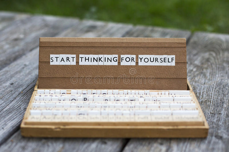 Start thinking for yourself royalty free stock photography