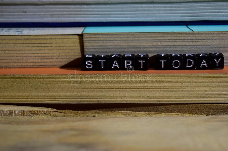 Start today on wooden blocks. Motivation and inspiration concept royalty free stock photo