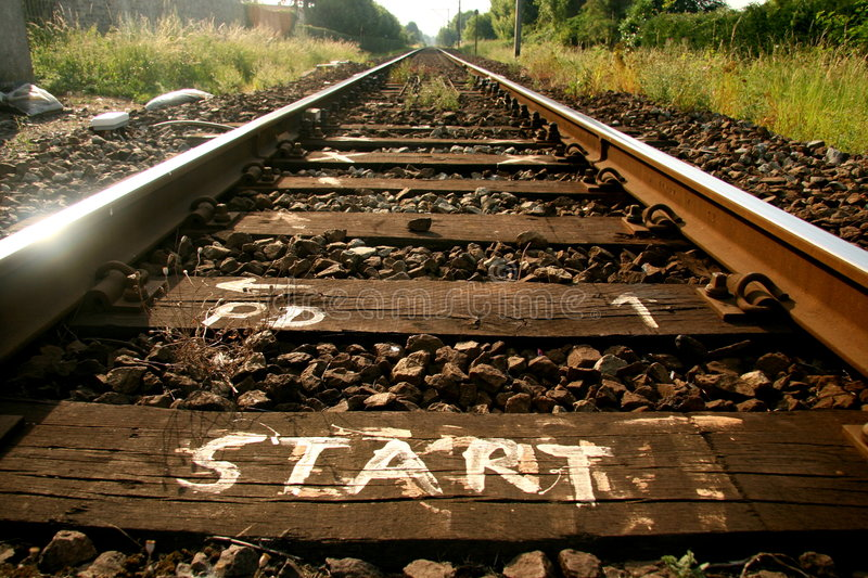 Start of the tracks royalty free stock images