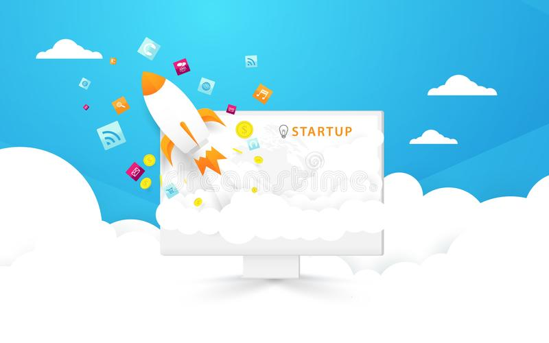 Start up background. Computer and Rocket launch out to the sky with social media icons. Illustration and vector stock illustration