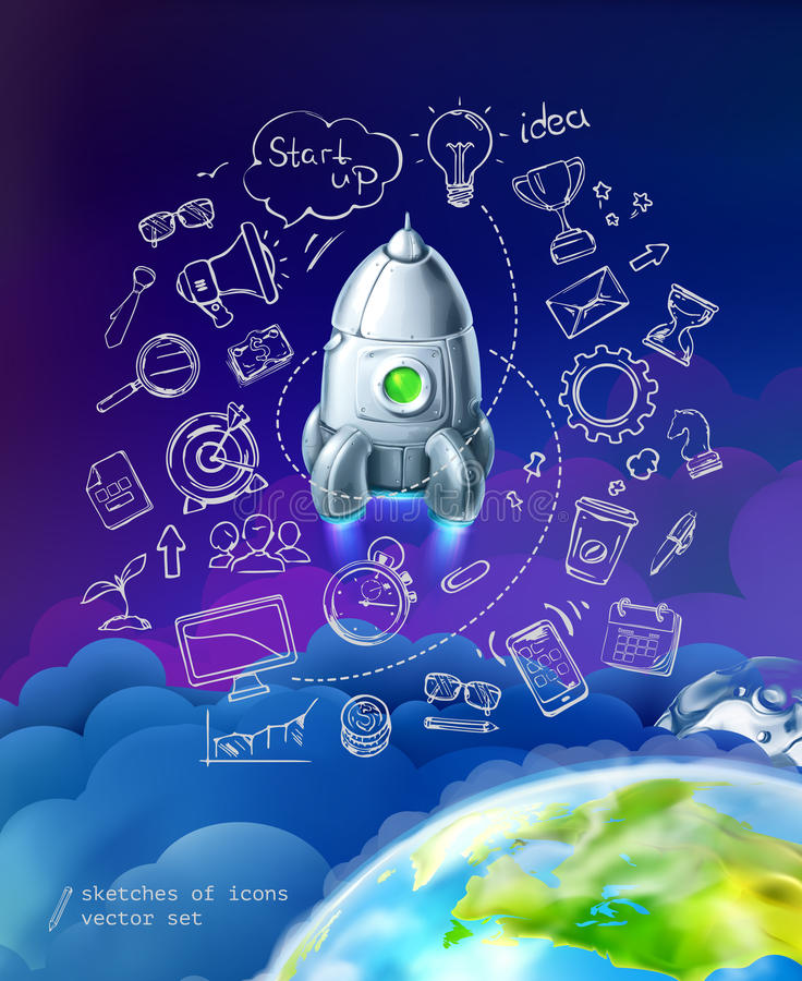 Start up, business infographics set stock illustration