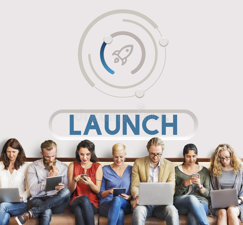 Start Up Business Rocket Ship Graphic Concept stock images