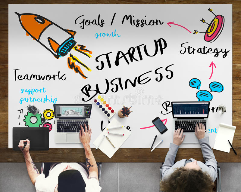 Start Up Business Rocket Ship Graphic Concept stock image
