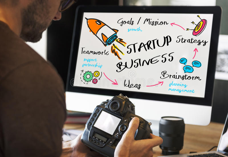 Start Up Business Rocket Ship Graphic Concept. Businessman Start Up Business Rocket Ship Graphic Concept royalty free stock images