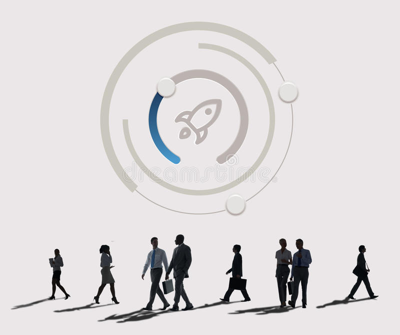 Start Up Business Rocket Ship Graphic Concept. Business People Talks Start Up Business Rocket Ship royalty free stock photography