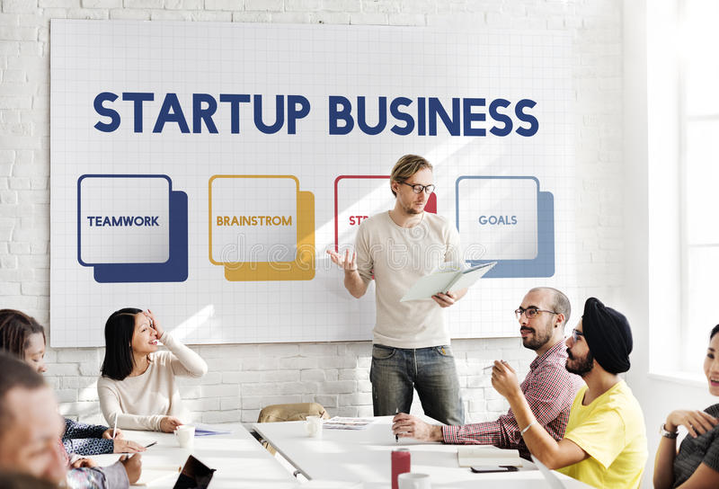 Start up Business Strategy Planning Concept. Business Man Presenting Start up Business Strategy Planning stock photo
