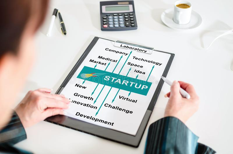 Start up concept on a clipboard royalty free stock photography
