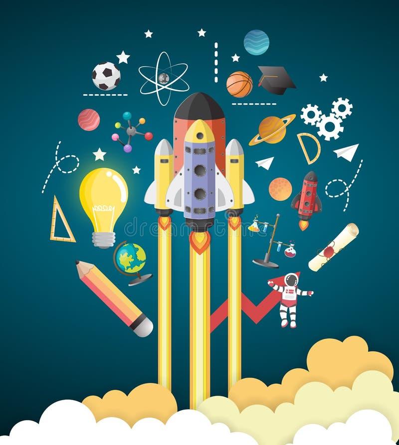 Start up concept. rocket flying education concept. Vector stock illustration