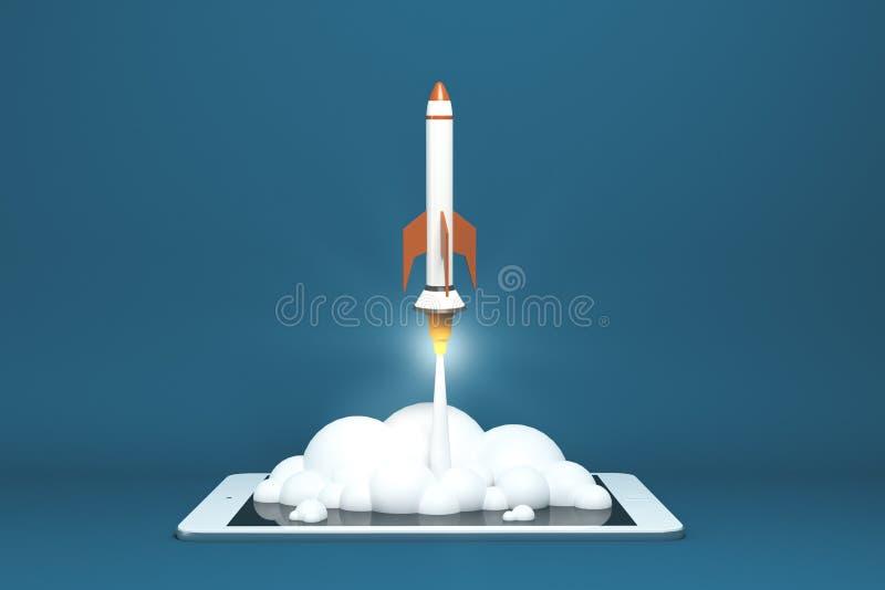 Startup rocket concept stock illustration