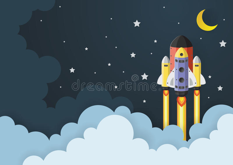 Start up concept. rocket flying on the sky. Paper art stock illustration