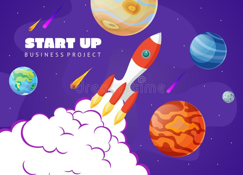 Start up concept space background with rocket and planets. Web design. Space exploring vector illustration. stock illustration