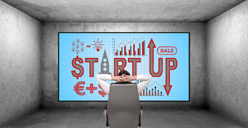 Start up concept. Young businessman looking on plasma panel with start up concept vector illustration