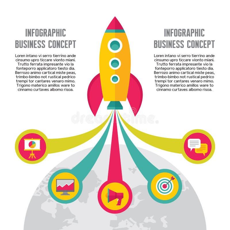 Start-Up Creative Illustration - Vector Icons Set in Flat Design Style. For presentation, booklet, web site etc. Rocket concept Illustration