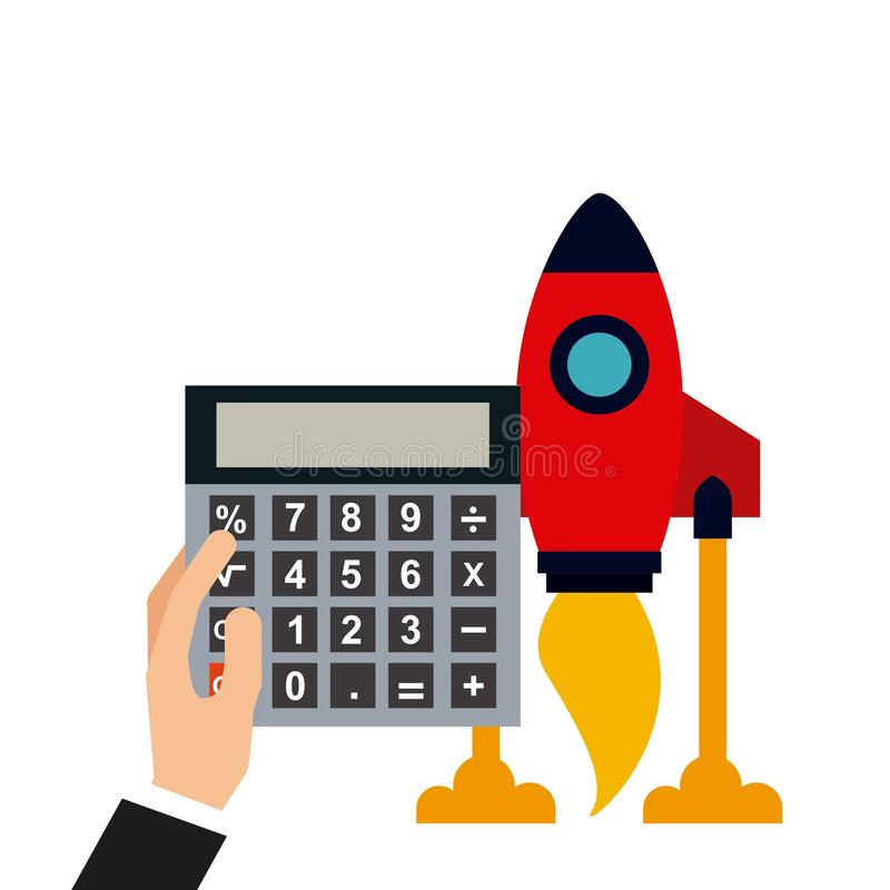 Start up design. Rocket and hand holding a calculator device icon over white background. colorful design. illustration vector illustration