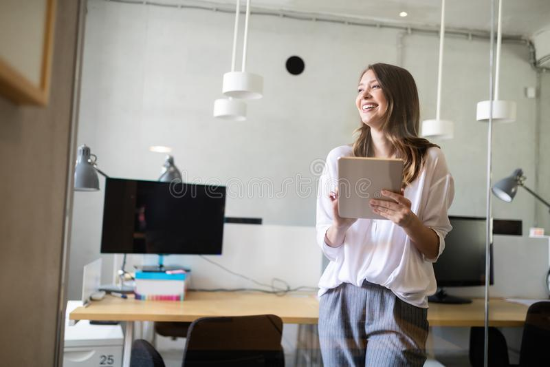 Start up of enterprise, women leader the new company self confident. Start up of enterprise, coworker woman leader the new company stock photo