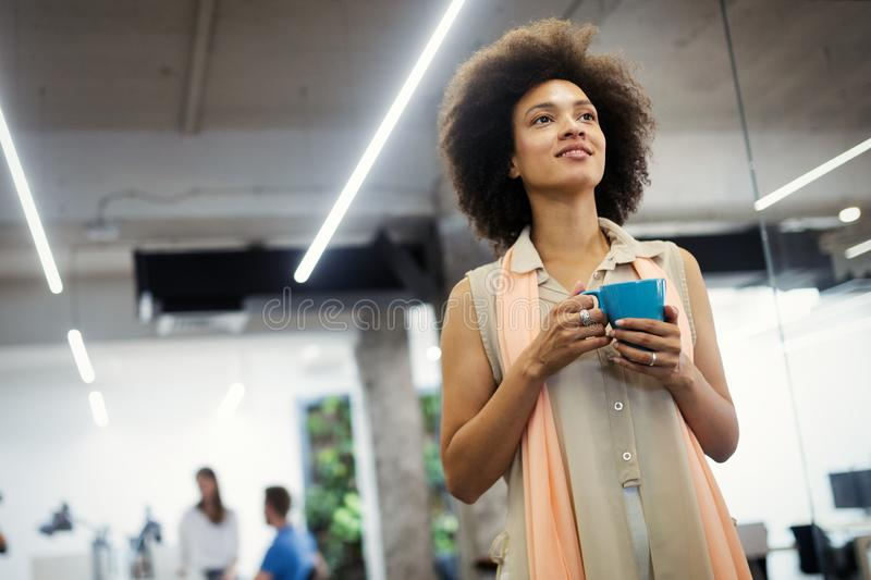Start up of enterprise, women leader the new company self confident royalty free stock photo