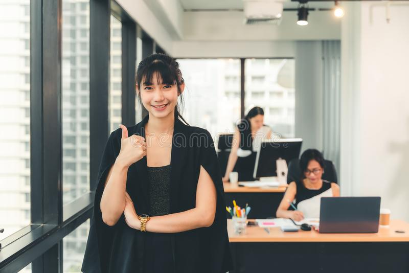 Start up of enterprise, women leader the new company self-confident. Workplace concept stock images