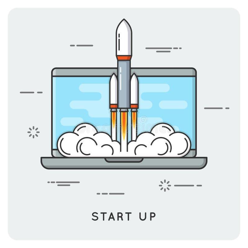 Start up. Flat thin line concept. vector illustration