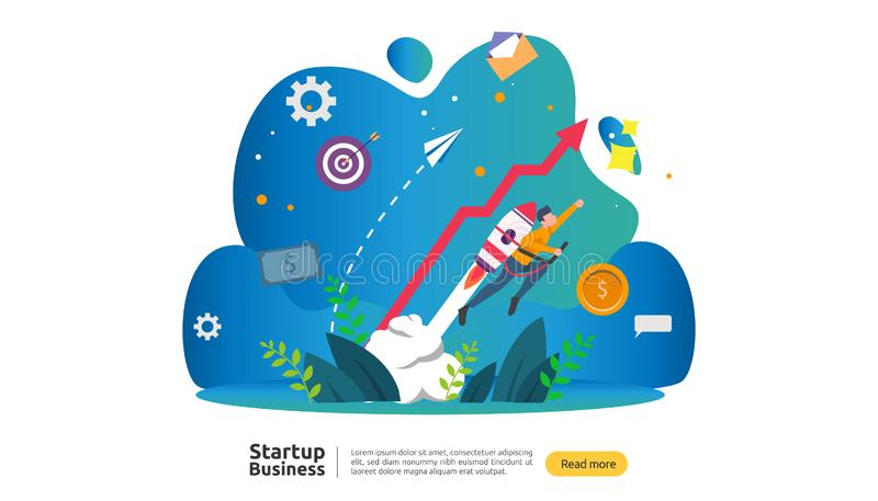 start up idea concept. project business with rocket tiny people character. new product or service launch template for web landing royalty free illustration