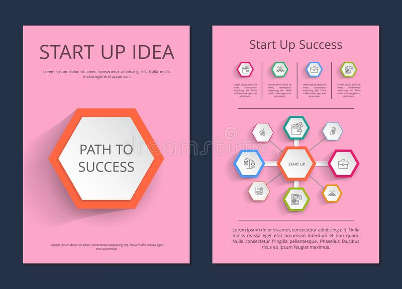Start Up Idea Path to Success Infographic Posters. With schemes and icons isolated cartoon vector illustrations with sample text on pink background stock illustration