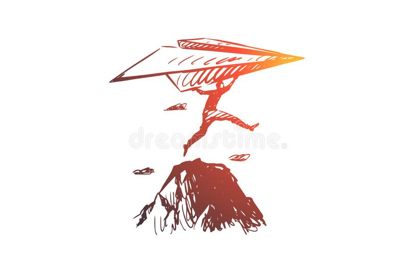 Start-up, inventor concept. Hand drawn sketch isolated illustration. Start-up, inventor vector concept. Businessman with paper airplane jumping on rocks. Hand royalty free illustration