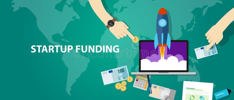 Start-up kassa för pengar för investering för affär för raket för finansieringföretagslansering vektor illustrationer