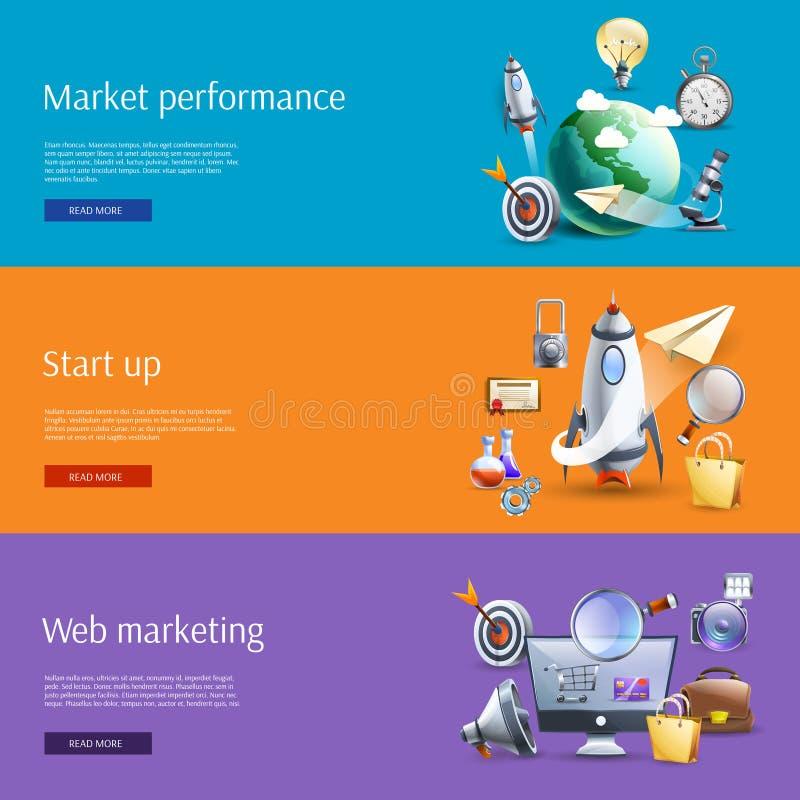 Start up marketing flat banners set. Start up business strategic marketing ideas concept flat banners set interactive webpage design abstract vector illustration vector illustration
