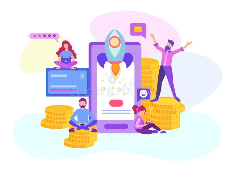 Start up of a mobile application, creation of a mobile online project, teamwork of web designers, programmers and analysts. Vector royalty free illustration