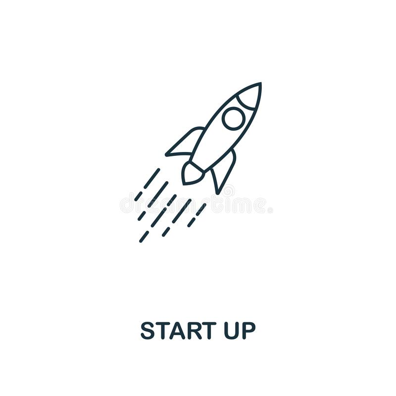 Start Up outline icon. Thin line style design from blockchain icons collection. Creative start up icon for web design vector illustration