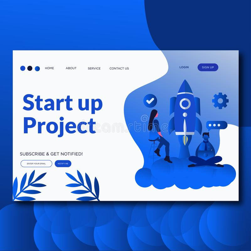 Start Up Project- Flat vector illustration landing page. Creative business, customized vector design stock illustration