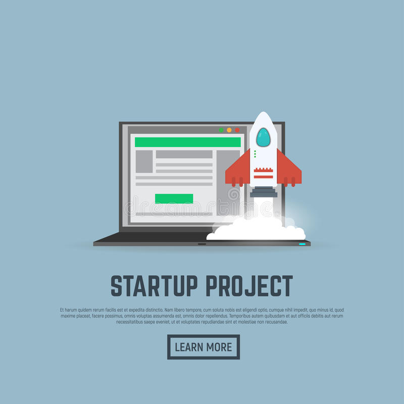 Start up rocket and laptop royalty free illustration