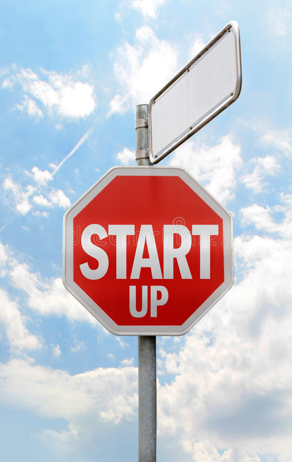 Start-up sign with empty space stock photography