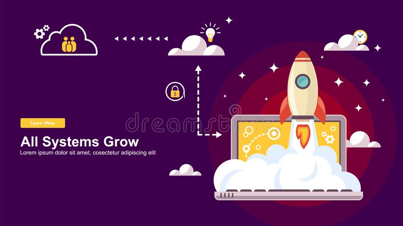 Start up Simple Rocket web design, Responsive web design flat vector, design technology template stock illustration