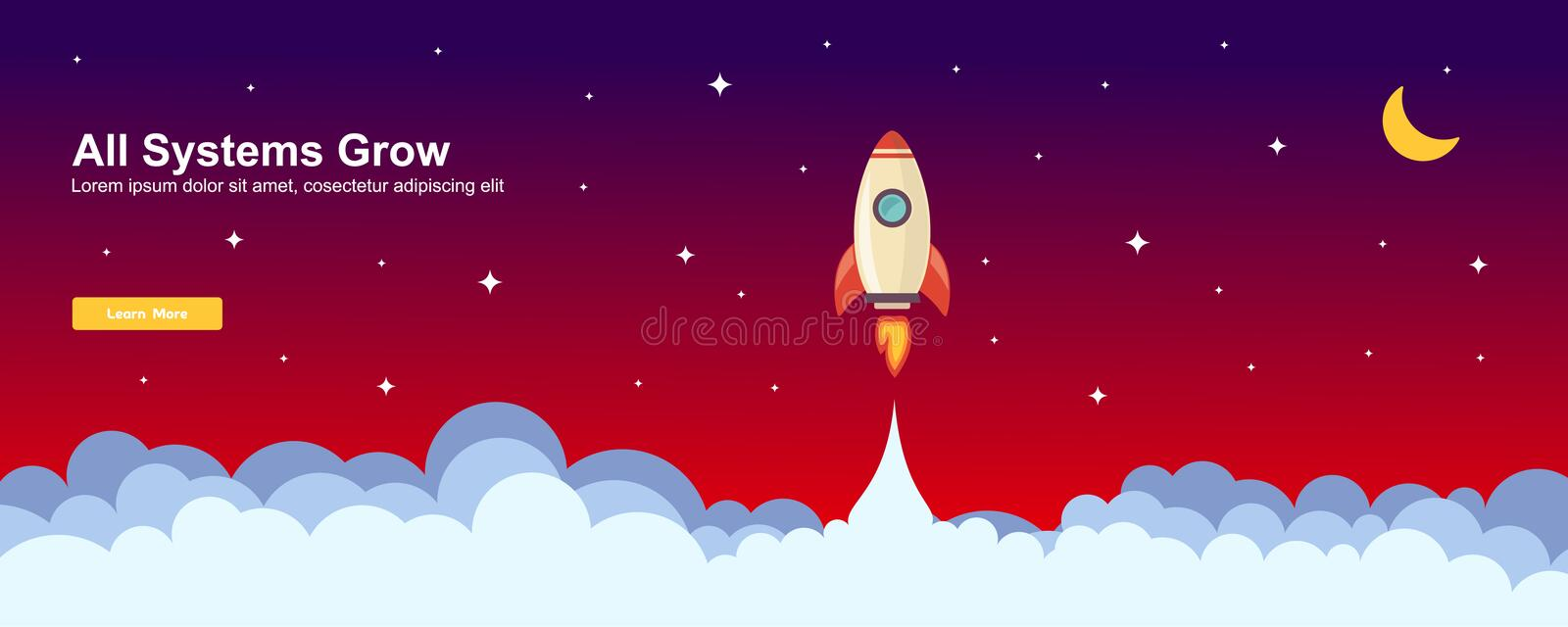 Start up Simple Rocket web design, Responsive web design flat vector, design technology template royalty free illustration