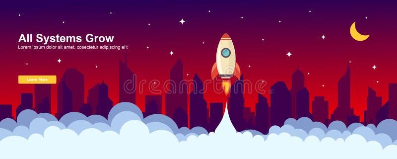 Start up Simple Rocket web design, Responsive web design flat vector, design technology template.  royalty free illustration