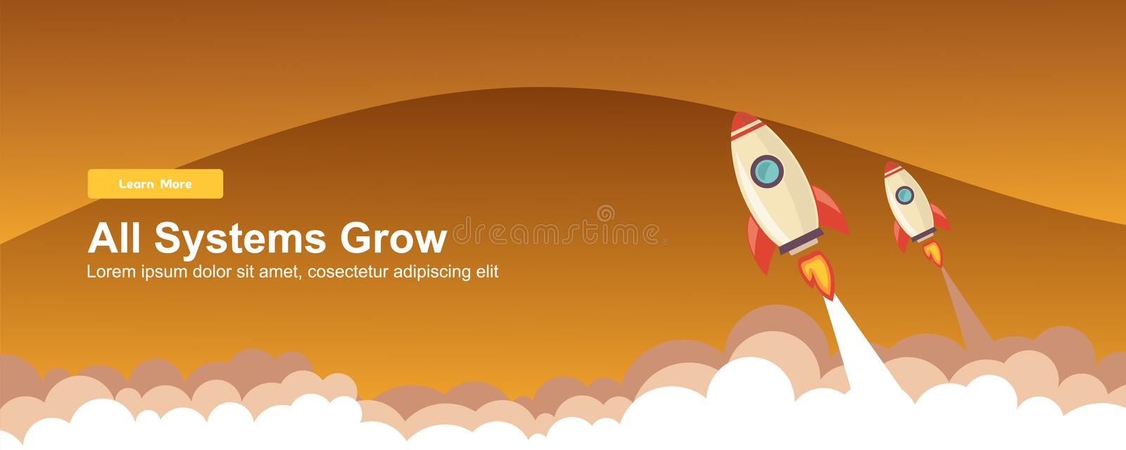 Start up Simple Rocket web design, Responsive web design flat vector, design technology template vector illustration