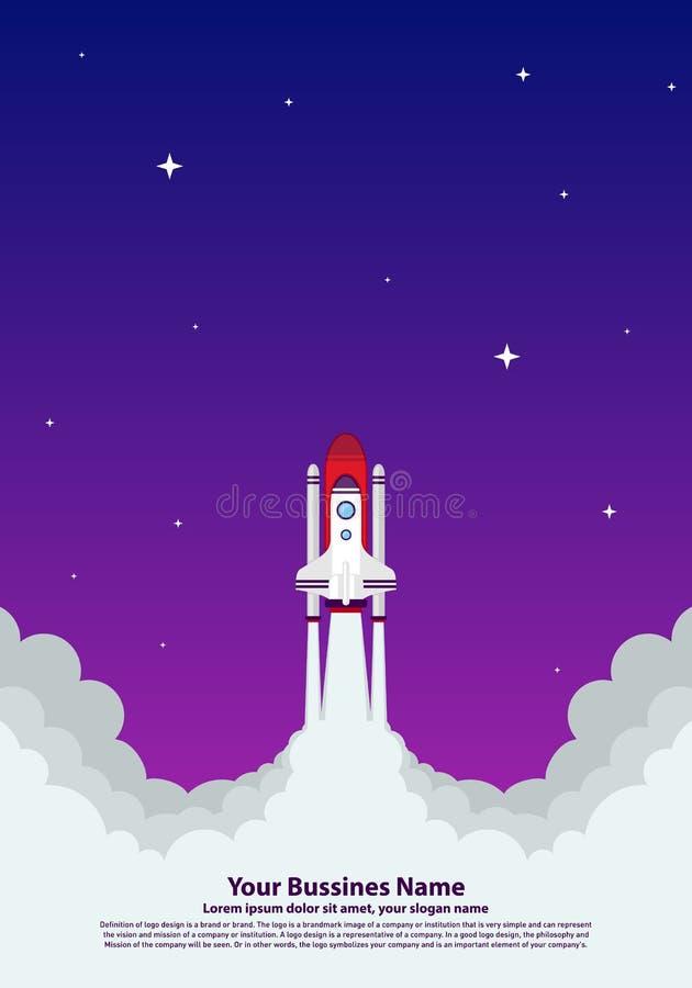 Start up Simple Rocket web design, Responsive web design flat vector, design technology template stock illustration