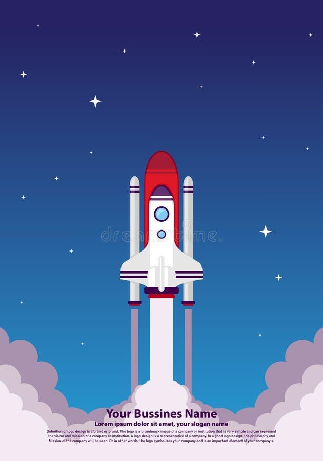 Start up Simple Rocket web design, Responsive web design flat vector, design technology template royalty free illustration