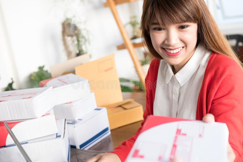 Startup small business owner carry parcel box at shop. SME seller hold product box at home. Online selling, e-commerce, shipping. Start up small business owner royalty free stock photo