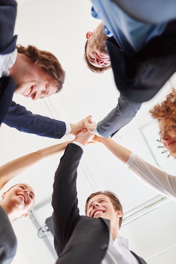 Start-up team celebrates success stock photo